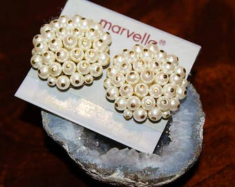 MARVELLA Designer Couture High End NOS Clustered Faux Pearls Large Earrings EM2