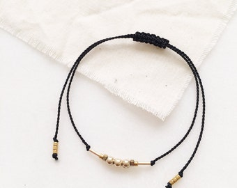 Triple Round Bead Delicate Friendship Bracelet - Silk Cord with Gold Filled & Gold Plated Beads - Available in different colors