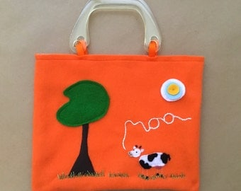 Children's Orange Hand Embroidered and Felt Animal Tote Bag - Cow