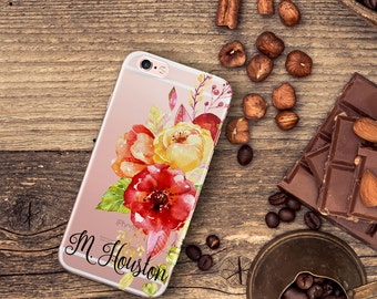 Floral iPhone 8 Plus Pretty Iphone 6 case clear, Red Iphone 6 Plus case, Floral gift for her, Birthday iPhone case clear with design (1719)