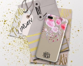 Iphone 7 Plus case clear with design, Clear iPhone case with monogram, Floral Pink outfit accessory, Personalized gifts for wife  (1744)