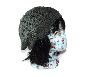 Grey Crochet Hat - Vintage Style Hat - Gifts for Friends - Grey Flower Hat - Ladies Chunky Hat - Gifts for Her - Vegan Friendly Hat -