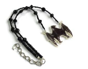 Black Bat Necklace -  Bat Necklace - Gothic Bat Necklace - Gothic Jewellery -  Horror  Gift -  Alternative Fashion - Halloween Jewellery