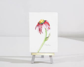 Mini floral watercolor botanical painting, watercolor print, cone flower,  miniature easel display stand, Gift for her, Red cone flower