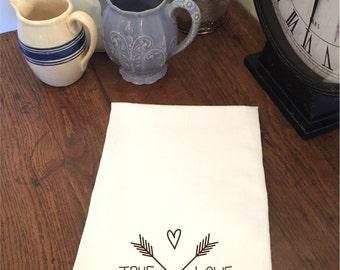 Valentine's True Love Tribal Heart White Flour Sack Hand Towel Tea Towel Dish Towel Bathroom Hand Towel Valentine Gift Mom Grandmother