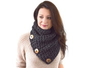 Chunky Neck Warmer Cowl Scarf with Three Natural Coconut Shell Buttons | The North Bay
