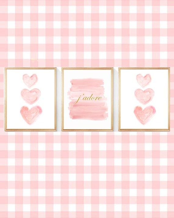 J'adore French Nursery Prints in Blush and Gold, Set of 3-8x10