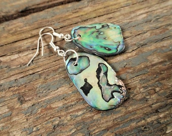 Abalone earrings, paua shell earrings, shell earrings, beach earrings, boho earrings, gift for her, boho jewelry, abalone jewelry, paua