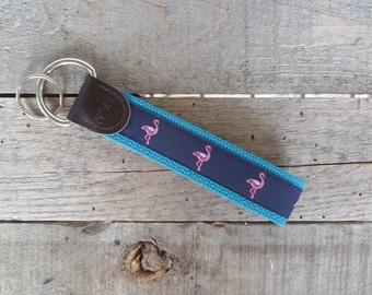Pink Flamingo Nautical Key Fob/ Preppy Key Chain / Party Theme Key Fob /Pink Flamingo /Leather Key Chain/ Key Ring/ Nautical Key Fob