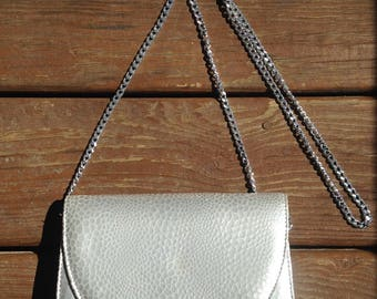 Silver Convertible Timothy Hitsman Glam Crossbody Purse Vintage Metallic Evening Bag Clutch Costume
