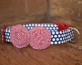 Patriotic Dog Collar - Navy/White Polka Dot with Red/White Stripe Flowers