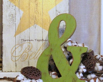 Farmhouse Decor Olive Green Ampersand Sign, Rustic Green Decor, Handmade 15.5in Ampersand, Rustic Wedding Prop, Distressed Gallery Wall Art