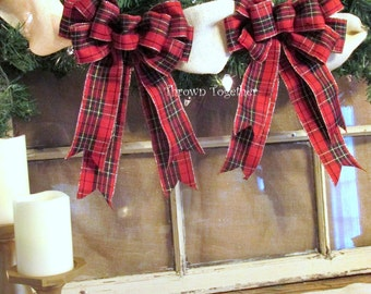 Christmas Bows, 2 Red Black Gold Plaid Bows, Christmas Plaid, Plaid Bows,