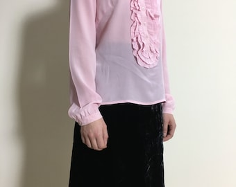 SALE Super Girly 1990s Frill Baby Pink 100% Silk Blouse / Shirt Long Sleeve Cerutti 1881