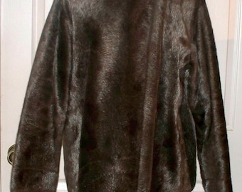 Vintage 1970s Faux Fur Coat - Sears Sportswear - Animal Print - Aluminum Zipper - Ladies Size Large 16-18