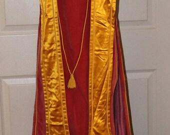 Vtg Order of the White Shrine of Jerusalem Vestments - Rose Velvet - Yellow & White Satin - Rhinestone Accent Front Bib - Embroidered Back