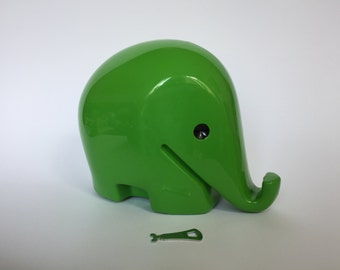 Vintage XXL Colani Style Elephant Piggy Bank with KEY. Space Age. Green. 1960s. German. Drumbo. Germany. 2017_010