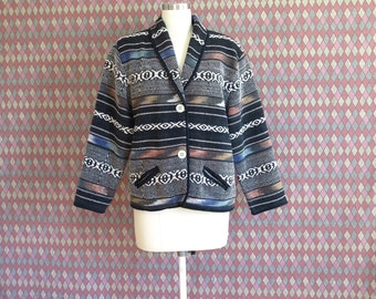 80s vintage woven cotton southwestern vibes jacket coat// medium