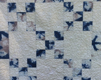 Blue and Gray Shibori Dyed Cotton Lap Quilt