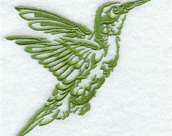 Hummingbird Silhouette Embroidered Towel | Flour Sack Towel | | Dish Towel | Kitchen Towel | Hand Towel | Embroidery