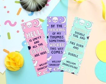 William Shakespeare Bookmark Set. Bookmarks. Shakespeare Bookmarks. Book Lover. Book Worm. As you Like It. Macbeth. Book Geek. Book Nerd.