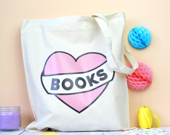 Love Books Tote Bag. Book Bag. Literary Gifts. Literary Tote. Tote Bag. Bibliophile. Book Lover Bag. Book Lover Gifts. Read More Books. Tote