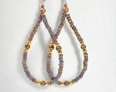 Copper Hoop Earrings Purple Copper Earring Bohemian Hoops Mauve Seed Bead Earrings Lever Back