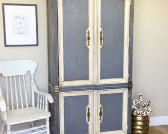 Large Armoire - French Provincial Style - Shabby Chic Wardrobe - Armoire Closet - Country Cottage Furniture - French Country
