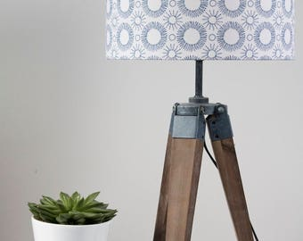 Mid-century Flower print lampshade indigo on white