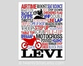 Motocross Typography Art Canvas or Print, Boy's Room Art, Choose Any Colors, Gift for Dirt Bike Rider, Boy's or Girl's Dirtbike