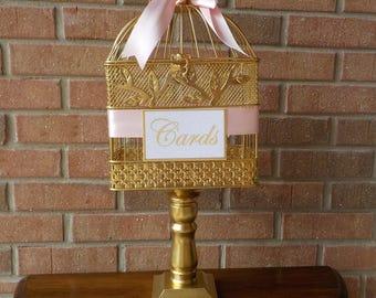 Pedestal Cage Wedding Card Holder, Bird Cage Money Holder, Bridal Shower, Baby Shower, Wedding Supplies, Money Holder, Personalized