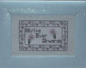 "Blackwork Cross stitch Pattern with beads ""Strive Ever Onwards"""