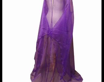 Beautiful Purple Shimmer Organza Cloak with Sleeves. Ideal for a Summer Wedding, Handfasting or Medieval Event. Made Especially For You.