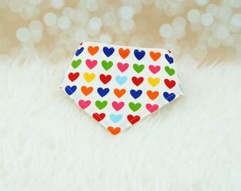Bibdana (Rainbow Hearts) ||| bibdana, baby shower gift, drool bib, dribble bib, drool bandana, special needs bib, bibdanna