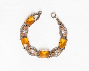 Vintage 1930s ART DECO Czech Glass and Enamel Filigree Bracelet