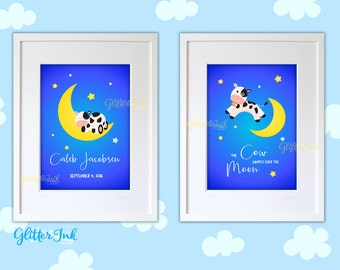 Cow jumped over the moon nursery rhyme baby bedroom nursery wall art baby shower decor PERSONALIZED pdf or jpg printable file - set of 2