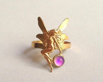 Mood Ring Fairy Elf 24K Gold Plated Brass