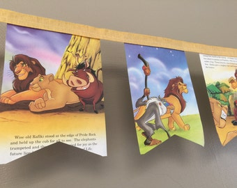 Lion King vintage storybook BANNER  made from actual book pages for party or baby nursery bedroom decor for sale by Estate ReDesign