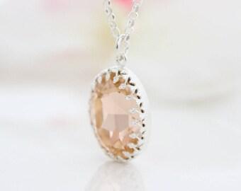 Peach pendant necklace • Silver necklace with a peach Swarovski rhinestone