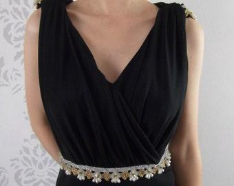 Black Retro Dress 1970's Maxi Dress Size Medium