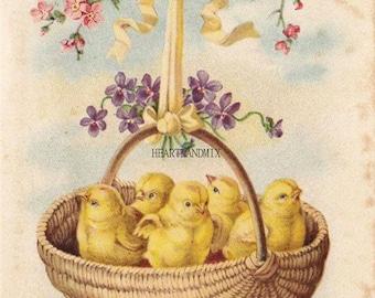 Vintage Easter Wishes Digital Download Printable Art Image Basket of Chicks