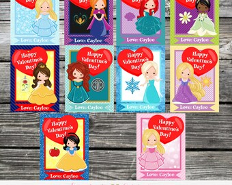 Princess Valentine Cards, Printable Valentine Card, Kids Valentines Day Cards, Snow White, Cinderella, Sleeping Beauty, Girls Valentine Card