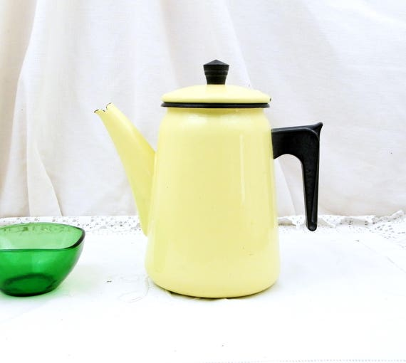 Vintage French Mid Century 1960s Buttercup Yellow Enamelware Coffee Pot, Cafetière, Retro, Vintage, Home, Kitchen, Enamel from France