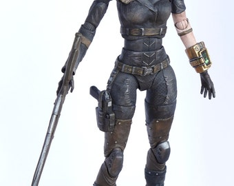 Fallout New Vegas The Female Courier Play Arts Kai Custom Action Figure with three head sculpts Laser Hunting Rifle removable Pimp Pip-Boy