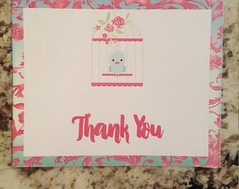 Printable Tweet Baby Girl Thank you Cards mms005