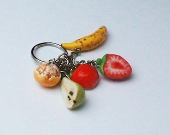 Fruit Keychain - orange keychain, apple, pear, banana, strawberry, fruit jewelry, food jewelry