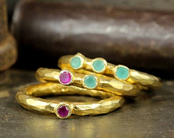 Set of Three Ruby, Emerald Designer Handcrafted Hammered 24K Yellow Gold over 925 Sterling Silver, Ancient Roman Art Stackable, Stack Rings