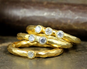 Set of Three Stackable Rings Designer Handcrafted Hammered CZ Stones 24K Yellow Gold over 925 Sterling Silver, Ancient Roman Art Stack Rings