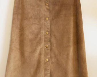 Vintage Tan Suede Button Up Midi Skirt