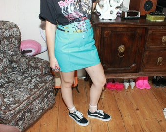 Vintage 80s Turquoise Highwaisted Leather Skirt